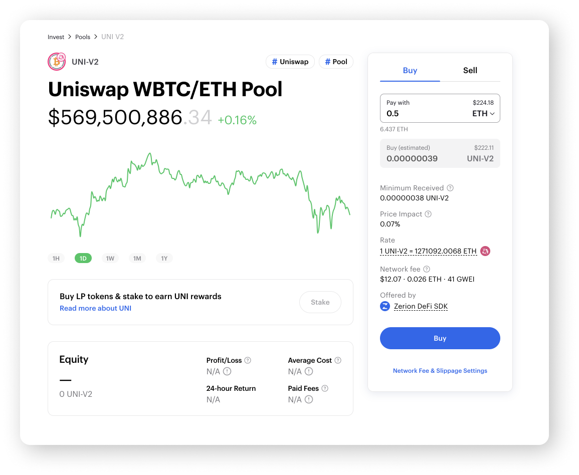 Uniswap WBTC/ETH Pool on Zerion